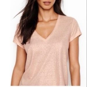 Victoria's Secret | V-Neck Baby Tee Rose Gold Foil